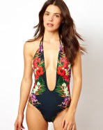 Mirror Tropical Print Plunge Halter Swimsuit