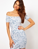 Debbi Off Shoulder Dress In Paisley Print